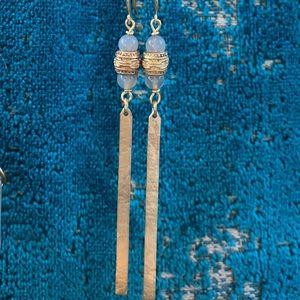 Jewelry - Handmade long bar and gemstone earrings
